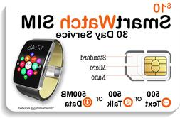 $10 Smart Watch SIM Card For 2G 3G 4G LTE GSM Smartwatches -