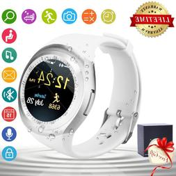 2018 White Bluetooth Smart Watch Round Touch Screen SIM For
