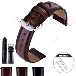 Quick Release Genuine Leather Watch Band Strap Bracelet For