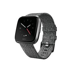 Fitbit Versa Special Edition Smart Watch, Charcoal Woven, On