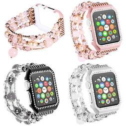 For Apple Smart Watch Series 4 3 2 Women's Bead Band Strap B