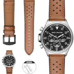 Brown/Black Quick Release Genuine Leather Watch Band Strap F