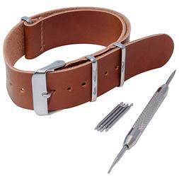 Brown 20mm Synthetic Leather strap with spring bar tool and