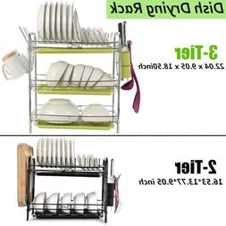 2/3-Tier Dish Plate Cup Drying Rack Organizer Drainer Storag