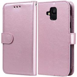 Galaxy A6 Case 2018, Alkax PU Leather Wallet Flip Cover with