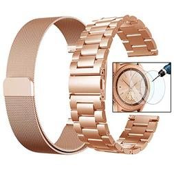 Valkit for Galaxy Watch  Bands, Rose Gold Sets, 20mm Stainle