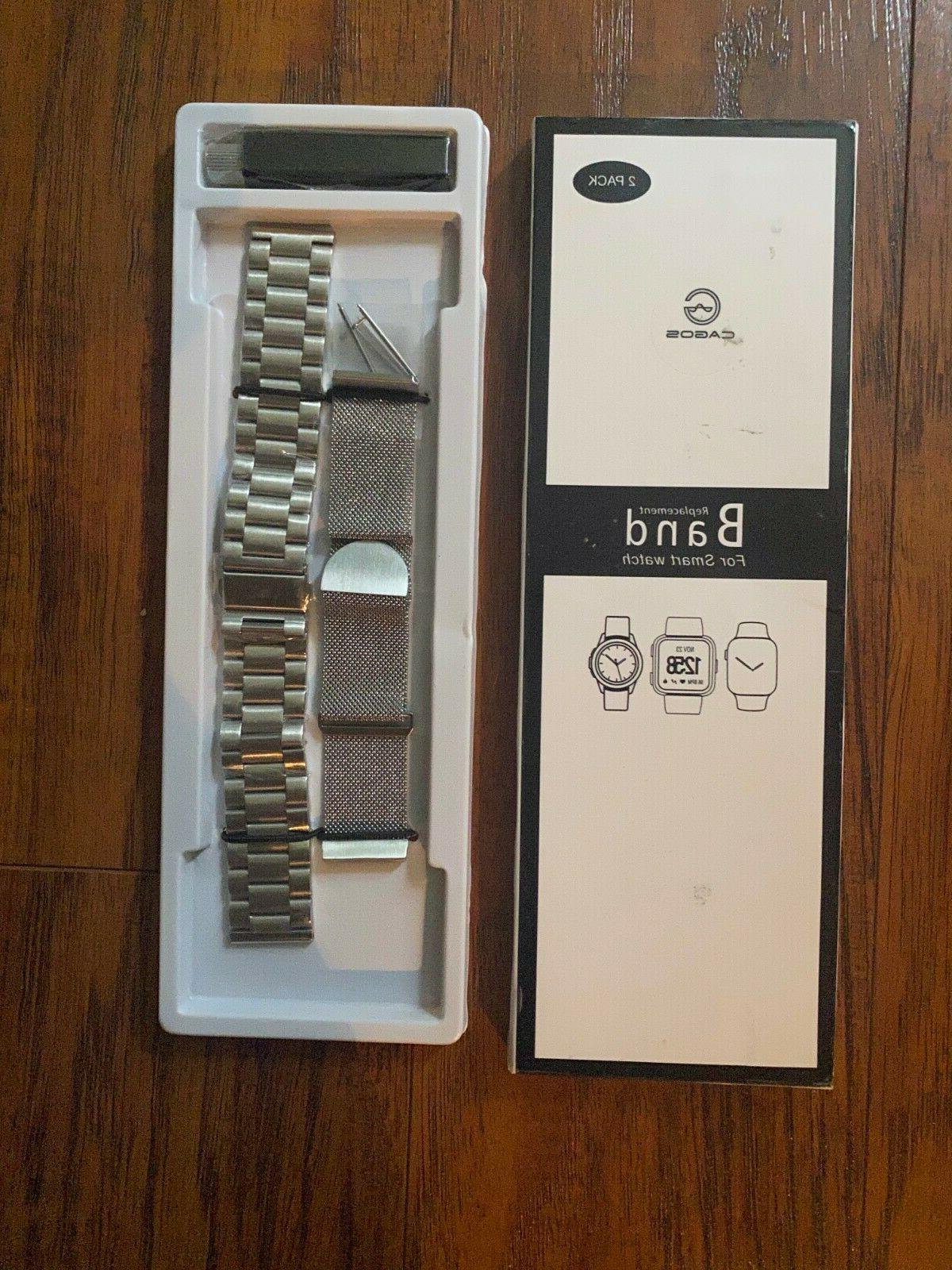 2 pack replacement smart watch band metal