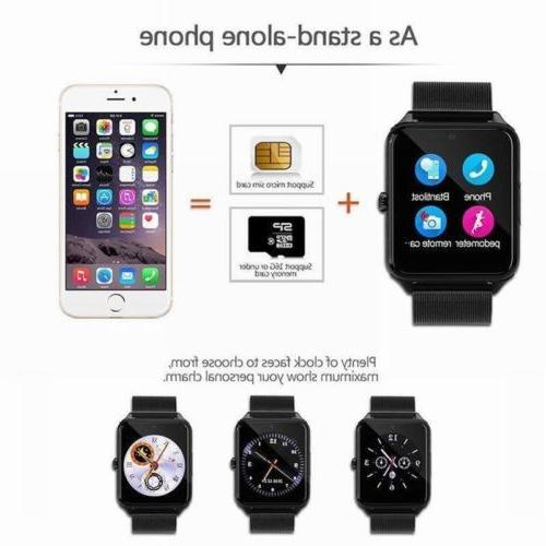 Bluetooth Watch GSM SIM Stainless Steel Android