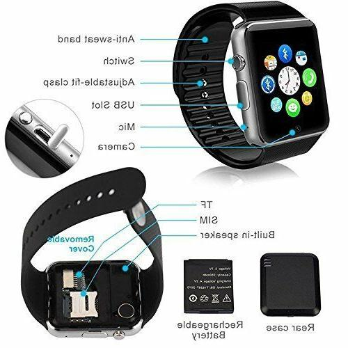 Bluetooth Smart Watch w/Camera Waterproof Android
