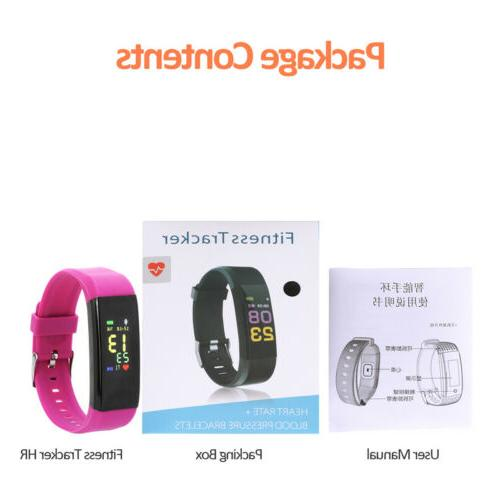 Fitness Tracker Smart Wristband Sport Pedometer Heart Monitor