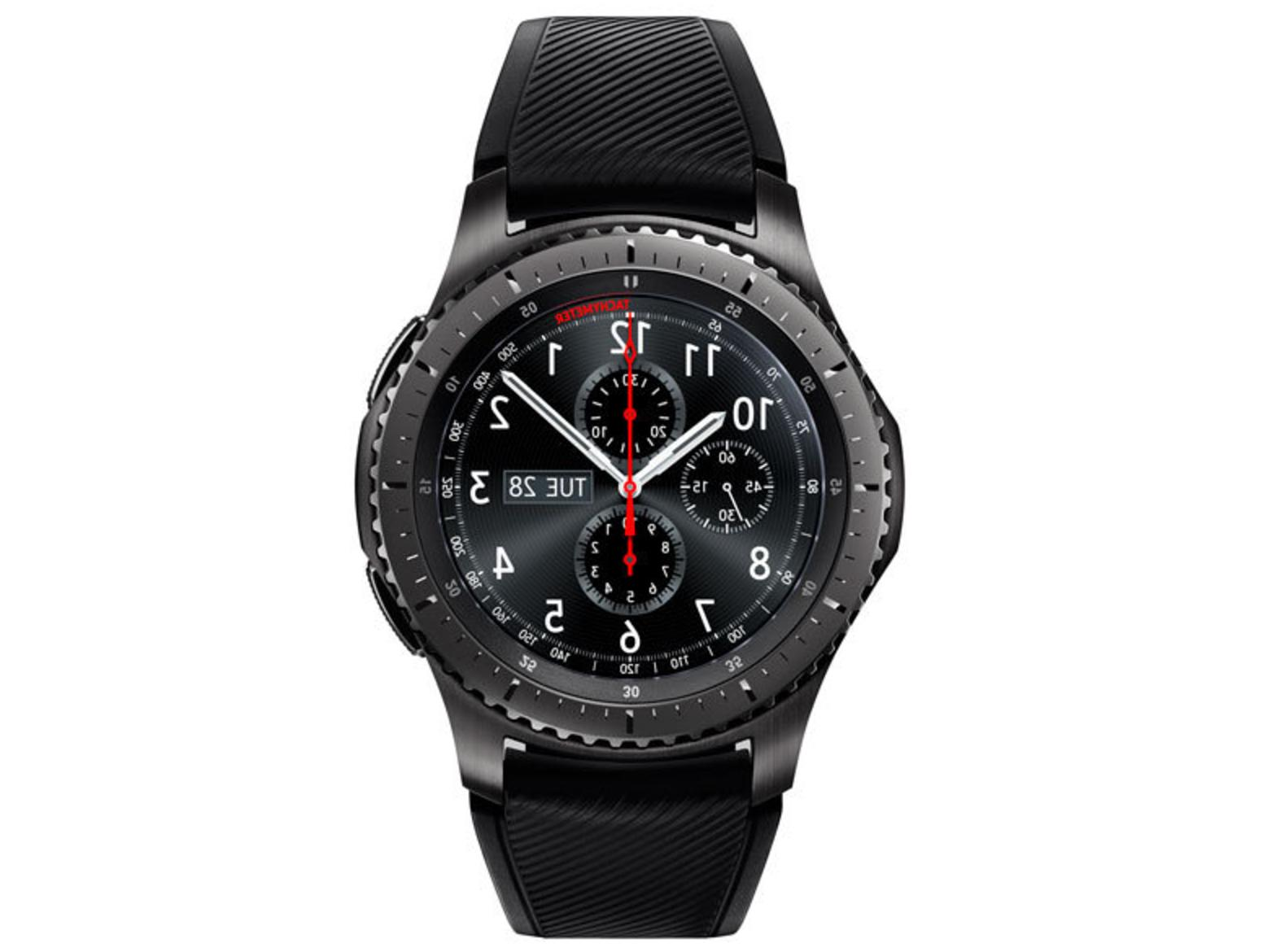 Samsung Smart 46mm Stainless Case & Black Silicone Strap