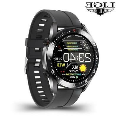 LIGE 2020 fashion circle touch screen Mens Smart Watches IP68 Waterproof S
