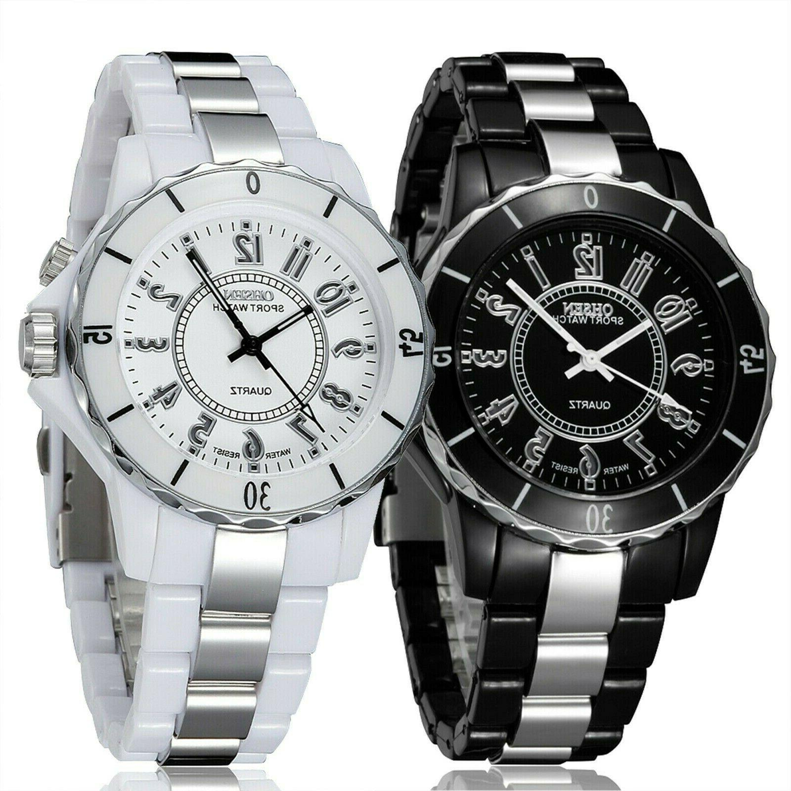 Men's Stainless Steel Couples Wrist Watch Analog