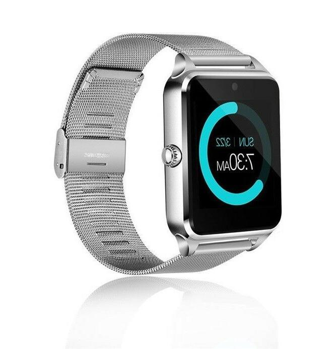 silver bluetooth smart watch for samsung iphone