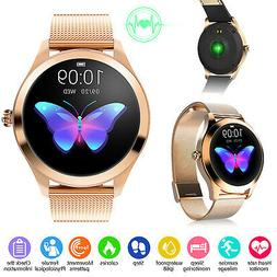 Lady Women Gold Smart Watch Waterproof Heart Rate Pedometer