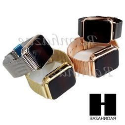 New Gold Silver Digital Smart Watch Touch Screen Mash Band S