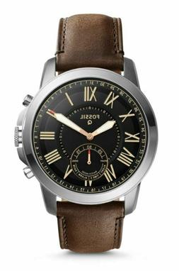 FOSSIL NEW Q GRANT HYBRID SMARTWATCH BLACK FACE SILVER BROWN