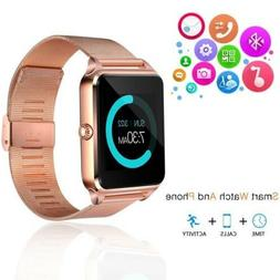 Rose Gold Smart Wrist Watch Steel Band Phone for Android iPh