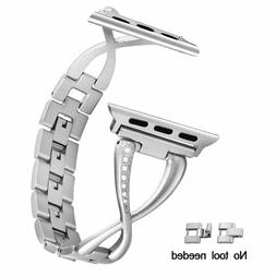 Stylish Stainless Steel Removable Link Bracelet for Apple Wa