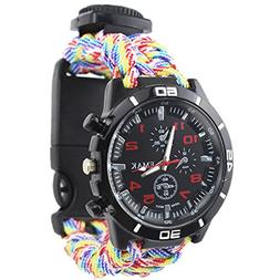 Alonea Outdoor Survival Watch Bracelet Paracord Compass Flin