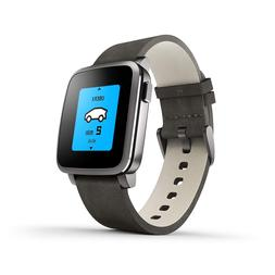 Pebble Time Steel Smartwatch for Apple/Android Devices - Bla