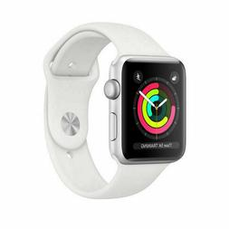 NEW APPLE WATCH SERIES 3 38MM WHITE ALUMINUM CASE WHITE SPOR