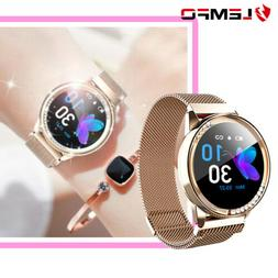 LEMFO Women Gold Smart Watch Waterproof Heart Rate Pedometer