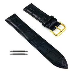 Women's Black Croco Replacement Leather Watch Band Strap Gol