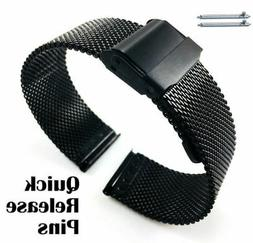 Women's Black Metal Steel Mesh Watch Band Strap Double Lock