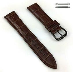 Women's Brown Croco Leather Replacement Watch Band Strap Bla