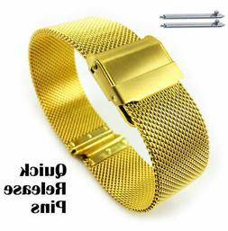 Women's Gold Tone Metal Steel Mesh Watch Band Strap Double L