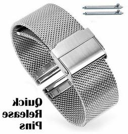 Women's Silver Tone Steel Mesh Watch Band Strap Double Lock
