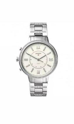 Fossil Q Women's Silver Virginia Crystal Accent Hybrid Brace